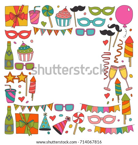 Happy Birthday Card Template Kids Drawing Stock Photo Photo Vector