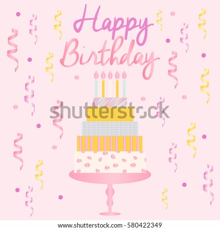 Happy Birthday Card Template Cake Candles Stock Vector 580422349