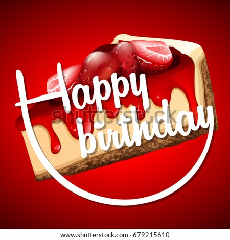 Happy Birthday Card Template Cheesecake Illustration Stock Vector