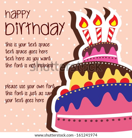 Happy Birthday Card Template with Colorful Large Layered Cake and Candle - Vector with Text Space