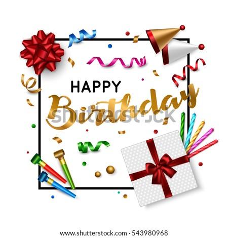 Happy Birthday Card Template Vector Eps Vector 364708616 – Happy Birthday Text Card