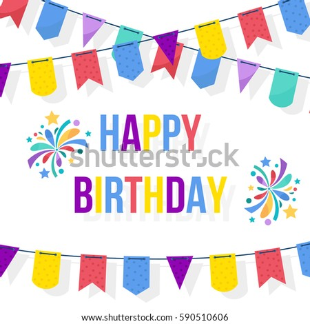 Happy Birthday Card Template Party Flags Stock Vector
