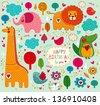 Happy Birthday card. Vector set of cartoon stickers with animals - stock vector