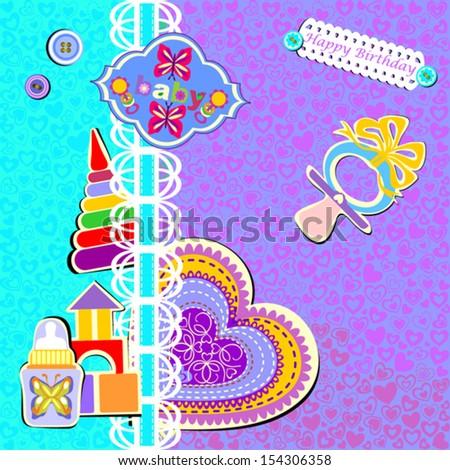 Happy Birthday Card, Vector Version - stock vector