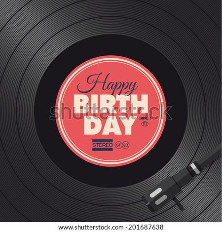 Happy birthday card. Vinyl illustration background, vector design editable.  - stock vector