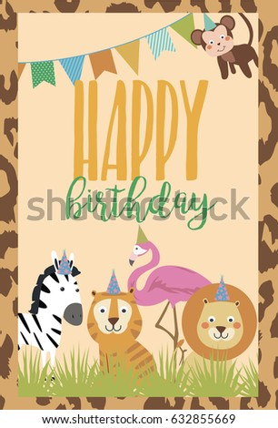 Happy birthday card african animals vector stock vector 632855669 happy birthday card with african animals vector illustration bookmarktalkfo Choice Image