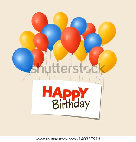 Happy birthday card balloons stock vector 140337913 shutterstock happy birthday card with balloons bookmarktalkfo Images