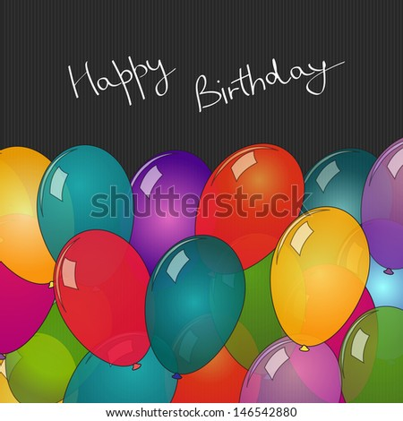 Happy Birthday card with balloons  - stock vector
