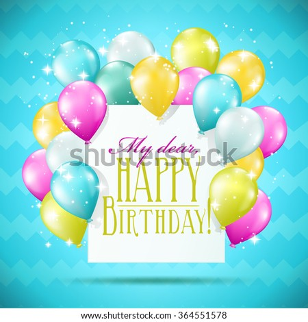 happy birthday card with balloons and sparkles on blue background - stock vector