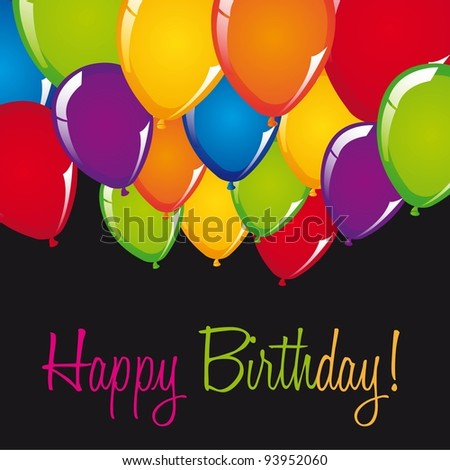 happy birthday card with balloons over black background. vector - stock vector