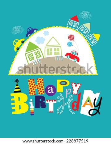 Happy Birthday Card Cars Houses Boys Stock Vector 228877519