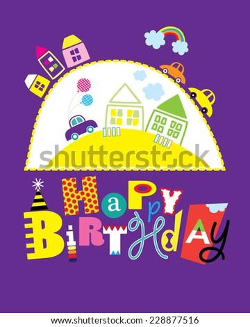 Happy Birthday Card Cars Houses Girls Stock Vector 228877516
