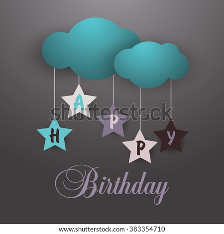 happy birthday card  with cloud and stars - stock vector