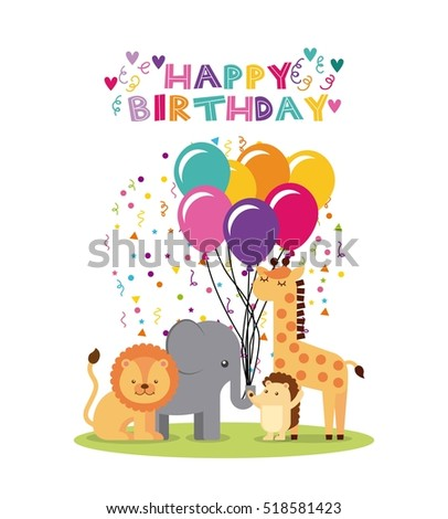 Happy Birthday Card Cute Animals Balloons Stock Vector Royalty Free