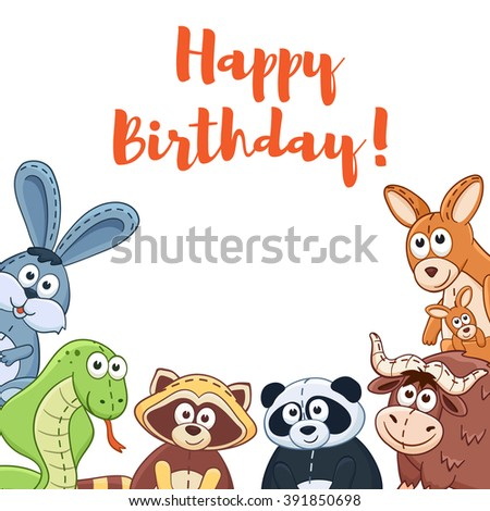 Happy birthday card with cute cartoon animals isolated on white background.  Vector illustration of adorable plush baby animals.  - stock vector