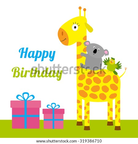 Happy Birthday card with cute giraffe, koala and parrot. Giftbox set Baby background Flat design Vector illustration - stock vector