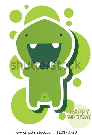 Happy birthday card with cute green monster, vector