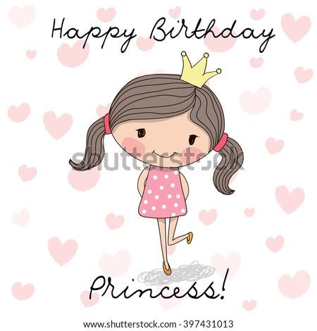 Happy birthday card cute little princess stock vector 397431013 happy birthday card with cute little princess bookmarktalkfo Choice Image