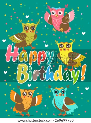 Happy Birthday card with cute owls. Vector illustration. - stock vector
