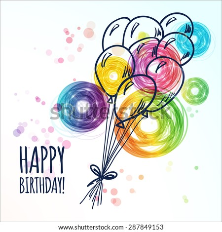 Happy Birthday Card with doodle hand drawn balloons. Vector illustration