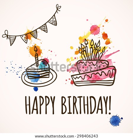 Happy Birthday Card Doodle Hand Drawn Stock Vector 298406243