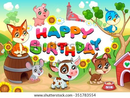 Happy Birthday card with farm animals. Vector cartoon illustration - stock vector