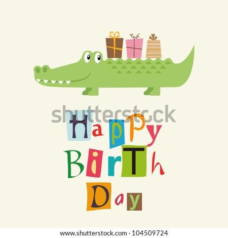 happy birthday card with fun crocodile - stock vector