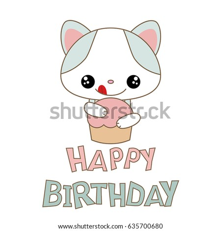 Happy Birthday Card With Funny Cat. Anime Style.