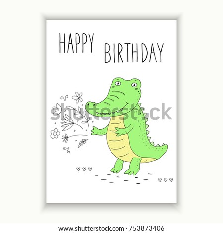 Happy Birthday Card Funny Cute Crocodile Stock Vector 753873406