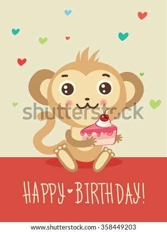 Happy birthday card funny monkey cake stock vector 358449203 happy birthday card with funny monkey and cake in his hands cute cartoon animal vector bookmarktalkfo Gallery