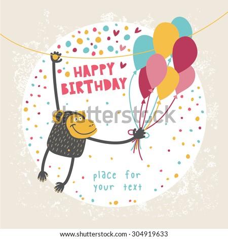 Happy Birthday Card Funny Monkey Balloon Stock Vector Royalty Free