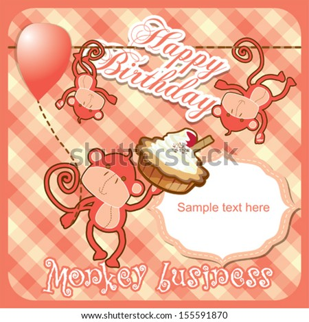 Happy birthday card with funny monkeys with balloon and birthday cake