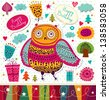 Happy birthday card with funny owl and gifts - stock vector