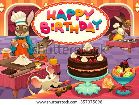 Happy Birthday card with funny pastry chef animals. Vector cartoon illustration - stock vector