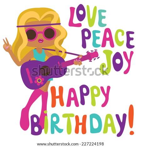 Happy birthday card with hippie girl? musician - stock vector