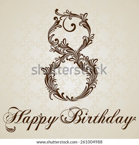 Happy birthday card with number eight. Vector Design Background. Swirl Style Illustration. - stock vector