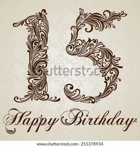 Happy birthday card with number fifteen. Vector Design Background. Swirl Style Illustration. - stock vector