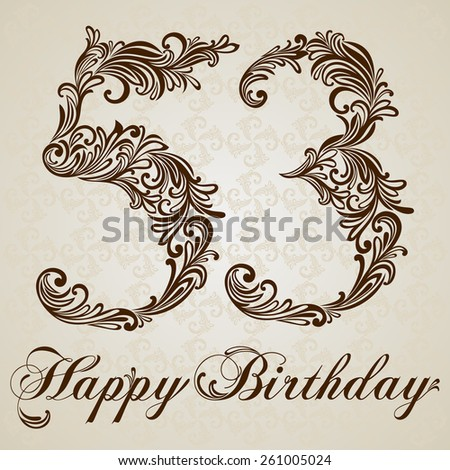 Happy birthday card with number fifty-three. Vector Design Background. Swirl Style Illustration. - stock vector