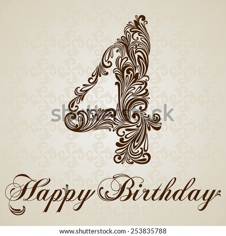 Happy birthday card with number four. Vector Design Background. Swirl Style Illustration. - stock vector