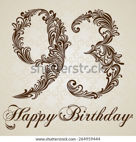 Happy birthday card with number Ninety-three. Vector Design Background. Swirl Style Illustration. - stock vector