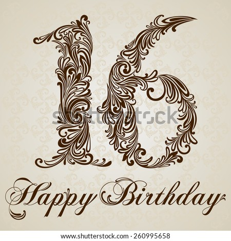 Happy birthday card with number sixteen. Vector Design Background. Swirl Style Illustration. - stock vector