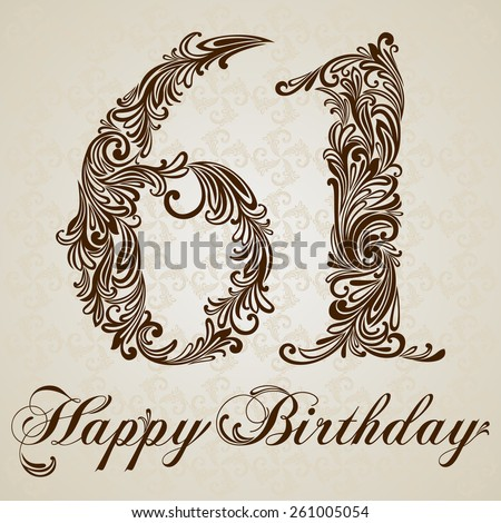 Happy birthday card with number  sixty-one. Vector Design Background. Swirl Style Illustration. - stock vector