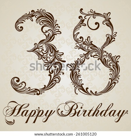 Happy birthday card with number thirty-eight. Vector Design Background. Swirl Style Illustration. - stock vector