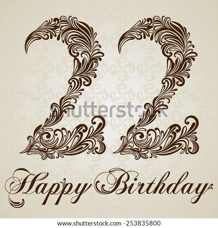 Happy birthday card with number twenty two. Vector Design Background. Swirl Style Illustration. - stock vector