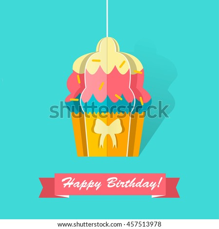 Happy Birthday Card Origami Cupcake Paper Stock Vector 457513978
