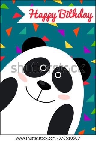 Happy birthday card panda card template stock vector 376610509 happy birthday card with panda card template bookmarktalkfo Choice Image