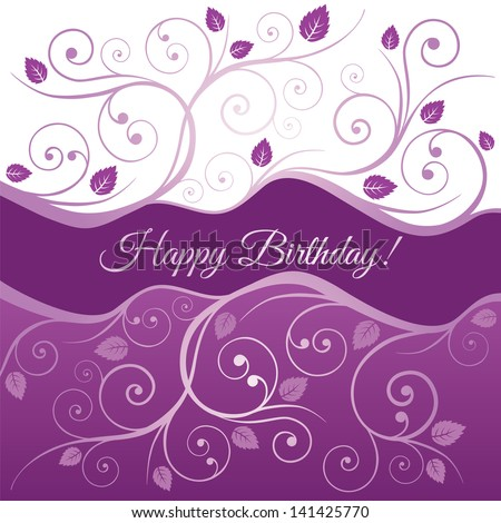 Happy Birthday card with pink and purple swirls and leaves. This image is a vector illustration. - stock vector
