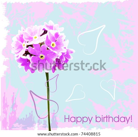 happy birthday card with pink flowers - stock vector