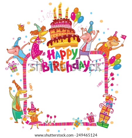 Happy birthday card with place for your text - stock vector