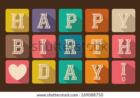 Happy birthday card with squares vector illustration - stock vector
